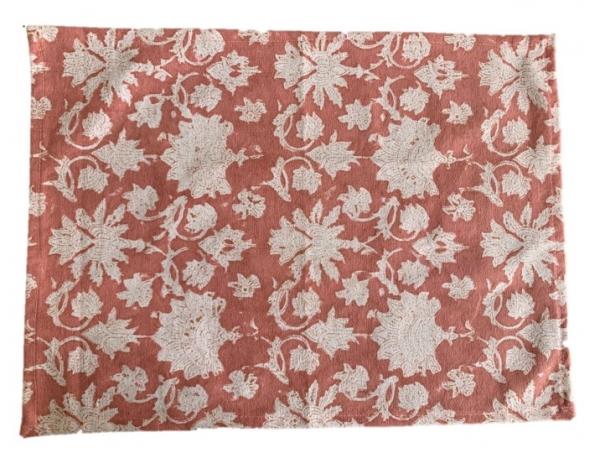Pink block print placemat