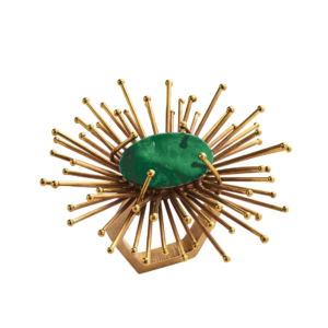 Gold and Emerald Flare Napkin Ring