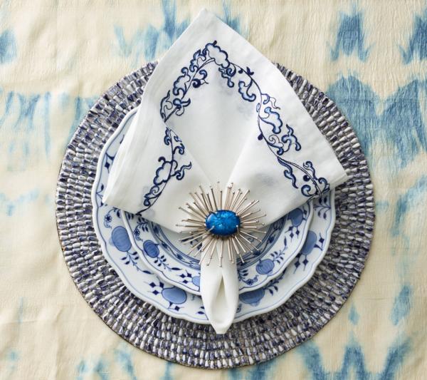 cobalt & silver flare napkin ring