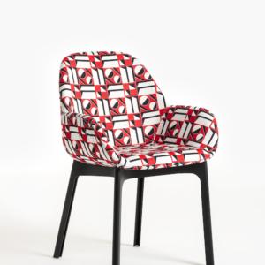 La Double J - Kartell Clap Black Frame Geometrico Rosso Chair