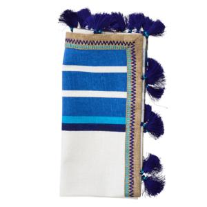 JAIPUR NAPKIN IN WHITE & BLUE<br>Set of 4