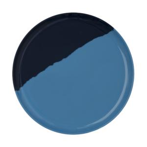 Melamine 1/2 & 1/2 Light Blue and Blue Dinner Plates <br> Set of 4