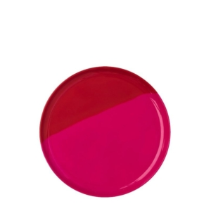 Melamine 1/2 & 1/2 Fuchsia and Red Side plate<br> Set of 4