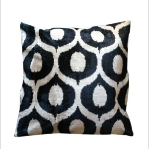 Black and white IKAT cushion