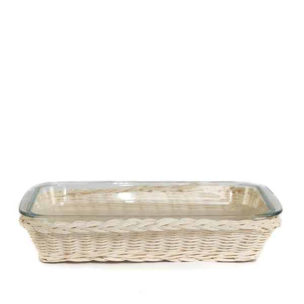 blonde rattan and glass dish