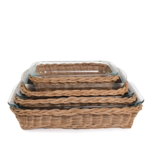 natural rattan and glass dish