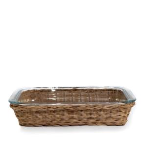 natural rattan and glass dish
