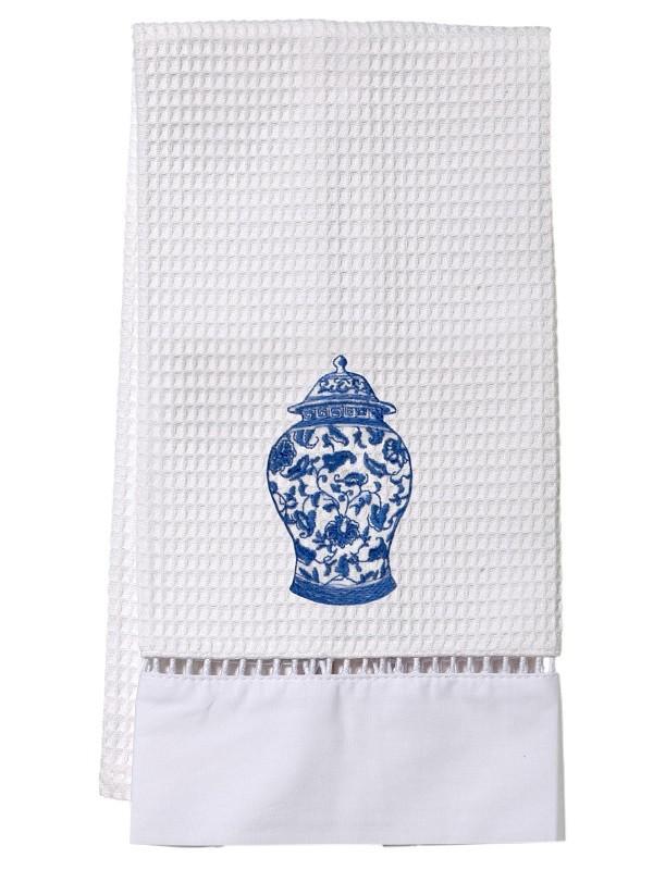 Guest Towel, Waffle Weave - Ginger Jar, (Cobalt Blue)