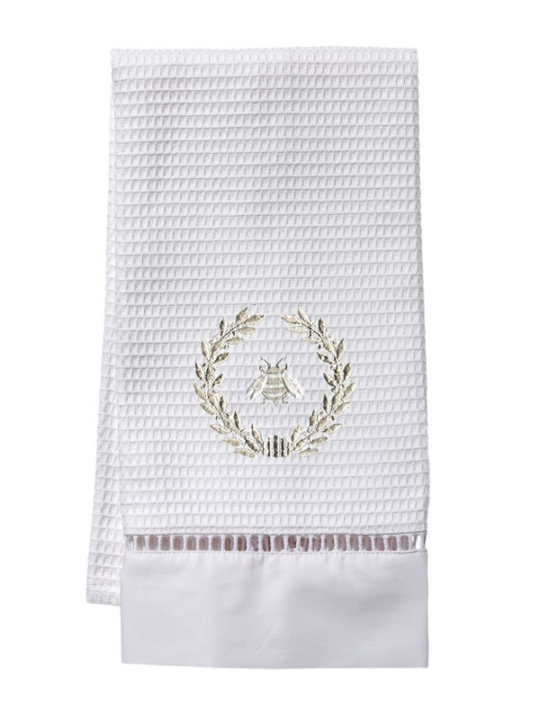 Guest Towel, Waffle Weave - Napoleon Bee Wreath (Beige)