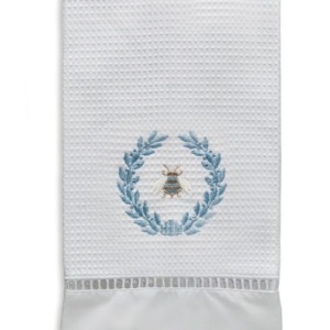 Guest Towel, Waffle Weave - Napoleon Bee Wreath (Duck Egg Blue)