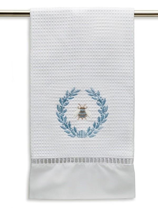 Guest Towel, Waffle Weave - Napoleon Bee Wreath (Duck Egg Blue)