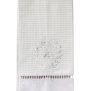 Guest Towel, Waffle Weave - Napoleon Bee Wreath (White)