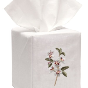 Tissue Box Cover, Linen Cotton - Apple Blossom (White)