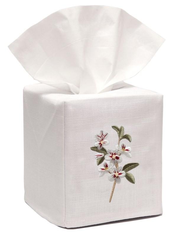 Tissue Box Cover, Linen Cotton - Apple Blossom (White)