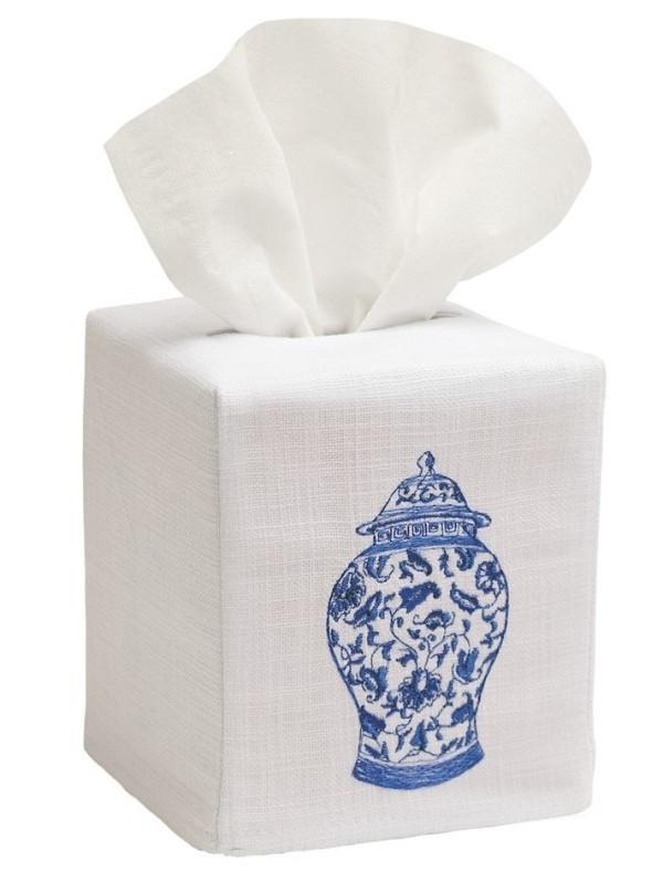 Tissue Box Cover, Linen Cotton - Ginger Jar (Wide)