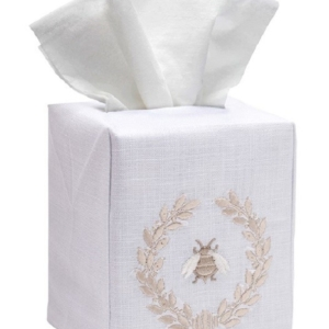Tissue Box Cover, Linen Cotton - Napoleon Bee Wreath (Beige)