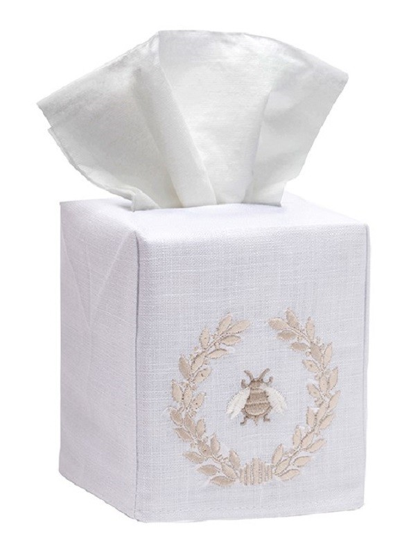 Tissue Box Cover, Linen Cotton - Napoleon Bee Wreath (Beige)