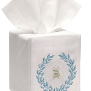Tissue Box Cover, Linen Cotton - Napoleon Bee Wreath (Duck Egg Blue)