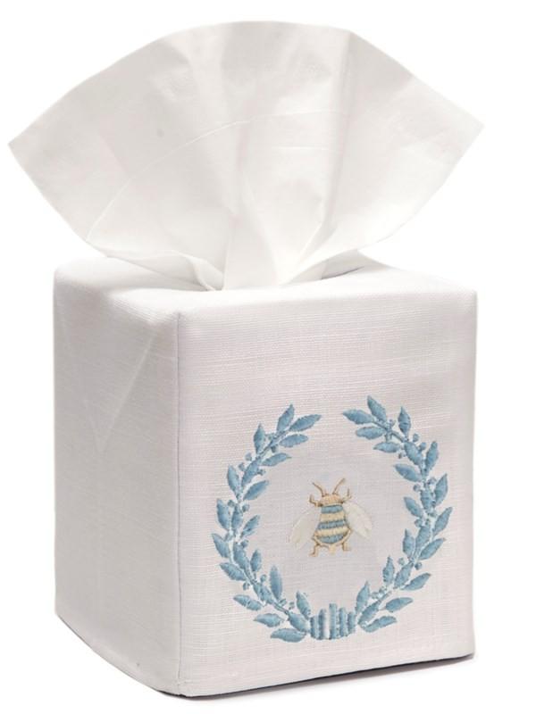 Tissue Box Cover, Linen Cotton - Napoleon Bee Wreath (Duck Egg Blue)