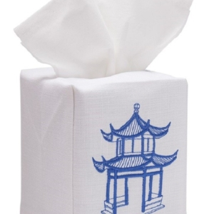 Tissue Box Cover, Linen Cotton - Pagoda (Blue)