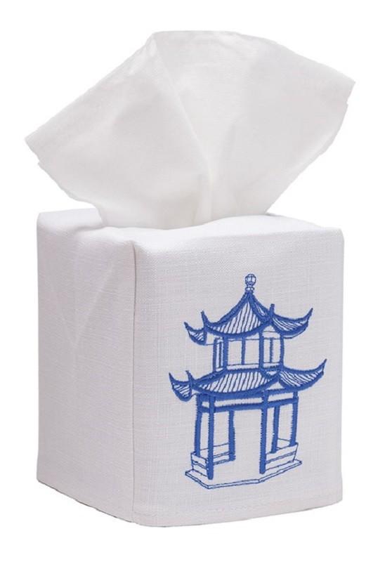 Tissue Box Cover, Linen Cotton - Pagoda (Blue)