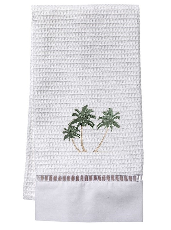 Guest Towel, Waffle Weave - Three Palm Trees (Green)
