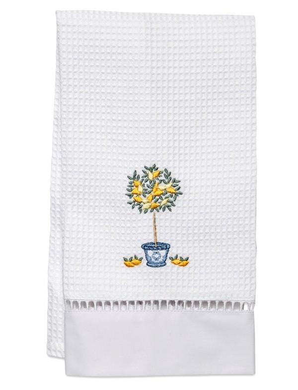 Waffle weave lemon guest towel