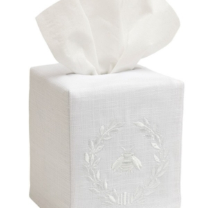 Tissue Box Cover, Linen Cotton - Napoleon Bee Wreath (White)