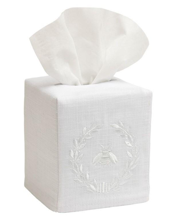 Tissue Box Cover, Linen Cotton - Napoleon Bee Wreath (White)