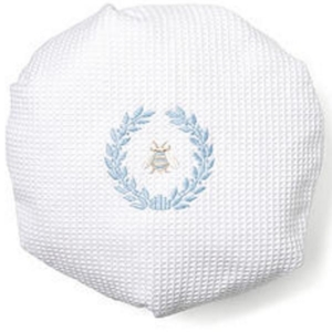 Shower Cap, Waffle Weave - Napoleon Bee Wreath (Duck Egg Blue)