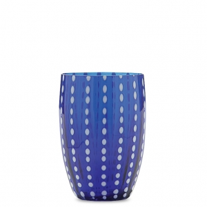SET OF 6 PERLE MURANO TUMBLERS IN BLUE