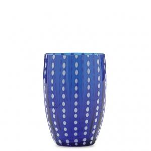 SET OF 6 PERLE MURANO TUMBLERS IN BLUE