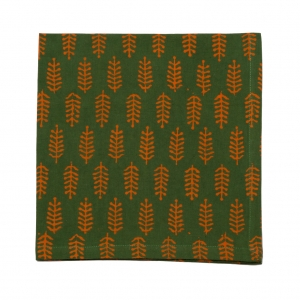 FORREST NAPKIN - HENNA GREEN/ORANGE (SET OF 6)