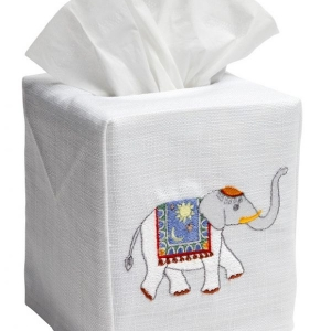 Elephant cotton and linen tissue box