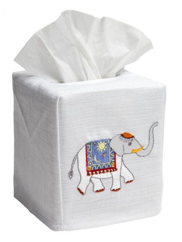Elephant cotton and linen tissue box