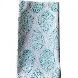 Aqua block print napkin