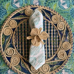 Marigold tablecloth and blue placemat