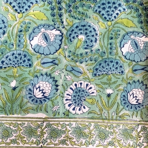 HAND BLOCK PRINTED COTTON MARIGOLD TABLECLOTH Aqua and Turquoise <BR> Voyage a Table