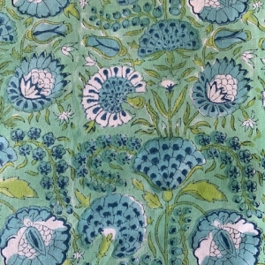 HAND-PRINTED COTTON MARIGOLD TABLECLOTH Aqua and Turquoise, detail