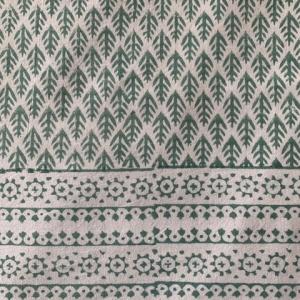 Green Block print cotton tablecloth