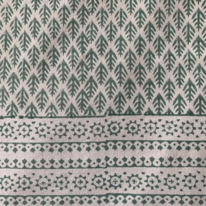 HAND BLOCK PRINTED COTTON SPRING LEAVES Green <BR> Voyage a Table