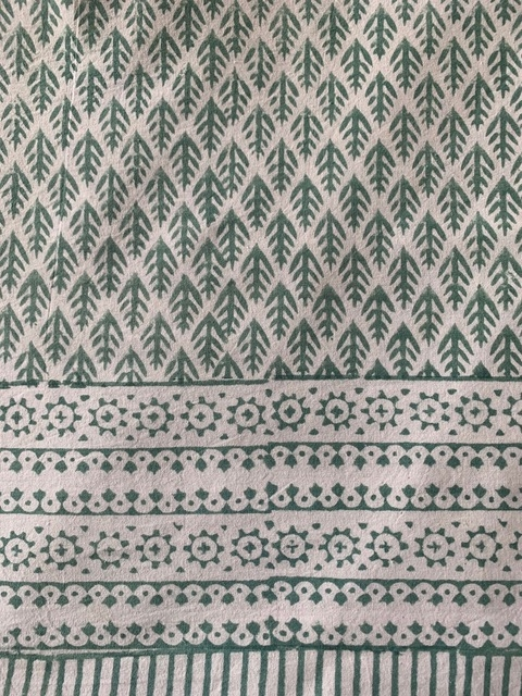 Green Block print cotton tablecloth