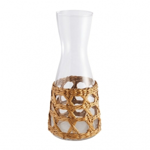 handblown carafe with woven seagrass sleeve