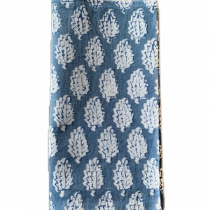 blue and white block print napkins
