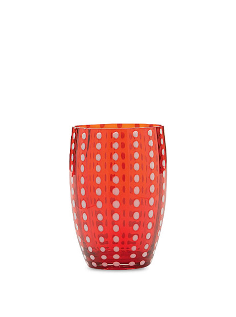 SET OF 6 PERLE MURANO TUMBLERS IN RED