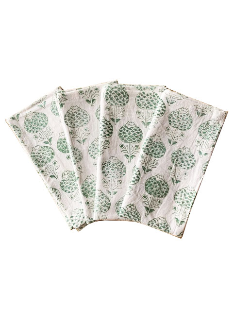 POMEGRANATE NAPKINS Green Voyage a Table