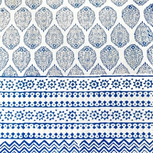 HAND BLOCK PRINTED COTTON BLUE DROPS TABLECLOTH <BR> Voyage a Table