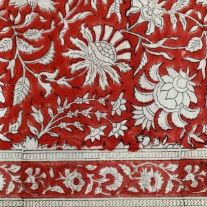 handblock cotton red tablecloth