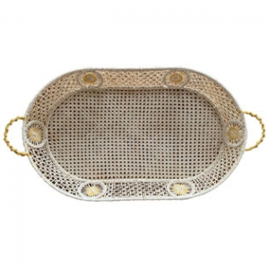 raffia tray with gold threads