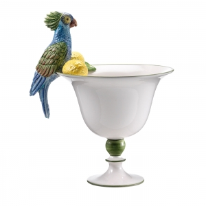 Ceramic parrot fruit bowl